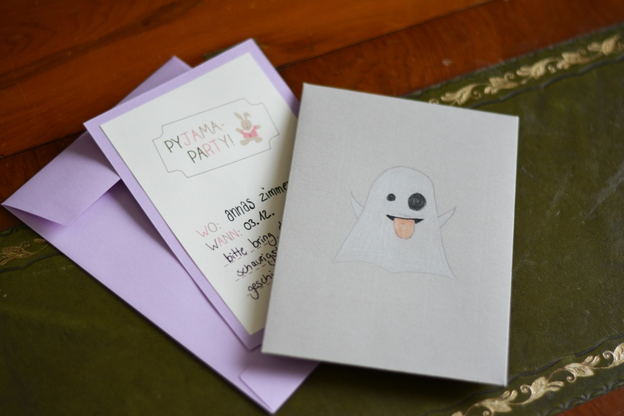 Einladungskarte, Einladung Zur Pyjamaparty, Umschlag, Gespenst, Geist