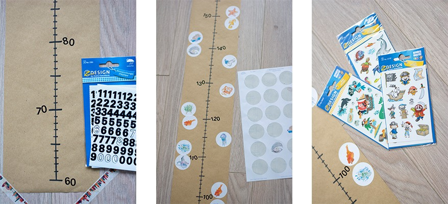 Messlatte, Kinder, Do it yourself, DIY, Zentimeter, wachsen, Sticker, Stickervorlage, Piraten, Meer, basteln, kreativ, Zahlenetiketten, Collage